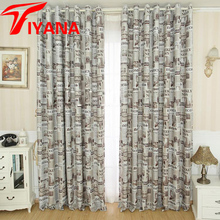 New Arrival Europe Window Curtains Retro Newspaper Designer Jalousie Bedroom Curtain Shading Curtains for Living room P227Z40(China)