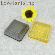 50sets=100pcs 6.8*6.8*4cm Mini Size Clear Plastic Cake boxes Muffin Container Food Gift Packaging 80g Moon Cake Holder