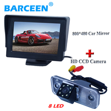 "Supply from stock new arrival car rear camera 8 led  with black 4.3""car screen  monitor for Hyundai new Santafe Santa Fe Azera"