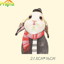 Prajna Cute Rabbit Patch Iron On Heat Press Transfers Shirt Printing Vinyl Transfer Paper Sticker Applique Badge Clothes Fabric