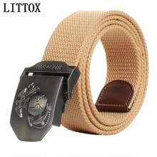 LITTOX men's canvas belt Red October buckle Revolution military belt Army tactical belts for Male top quality men strap