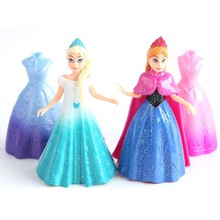 4pcs/set Princess Elsa Anna  Toys PVC Action Figure Doll Model Figure Can Change Classic Toys Kids Toys For Girl  #E