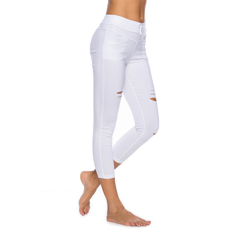 f9e167196 Skinny Jeans Women Denim Pants Holes Destroyed Knee Pencil Pants Casual  Trousers Black White Stretch Ripped Jeans   Your Fashion Store Best Prices  and More