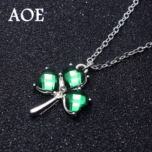 2017 New Fashion Jewelry Silver Plated Green Crystal Heart Three Leaf Clover Pendant Necklaces For Women Girl Christmas Gift