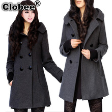 Trench For Women 2017 Plus Size Hot Sale Trendy Women's Wool Blend Winter Noble Long Coat Jacket,hooded Pea Coat S-3xl(China)