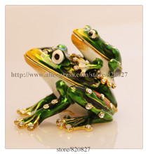 Frogs Mother and Body Jewelry Trinket Box Decorative Collectible Enamel Frog Family Crystals Jewellery Jewelry Trinket Ring Box