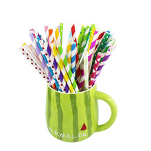 25pcs/lot Colorful Design Paper Straws For Birthday Wedding Decorative Party Event Supplies Creative Drinking Straws