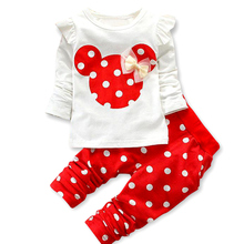 2017 Direct Selling Rushed Children's Set Girls Full Clothing Sets Spring Cotton Sport Suits Baby Minnie Tracksuits Kids Clothes