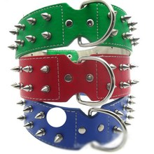 Chic Pet Dog Rivet Collar Spiked Studded Strap Pitbull Collar PU Leather Collar