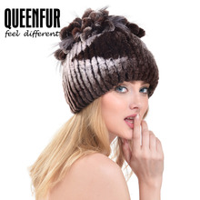 QUEENFUR Genuine Knitted Rex Rabbit Fur Hat With Fox Fur Flowers Beanies Super Elastic WIth Lining Women Winter Warm Fur Cap