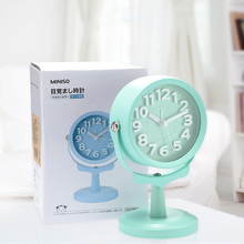 Free Shipping Miniso Brand Quartz Alarm Desk Clock Round Function 3D Table Clock Alarm Display Home Decoration Girl Gifts