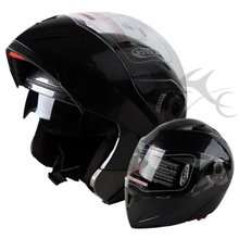 DOT Carbon Fiber Modular Flip Up Dual Visor Full Face Motorcycle Helmet S M L XL(China)