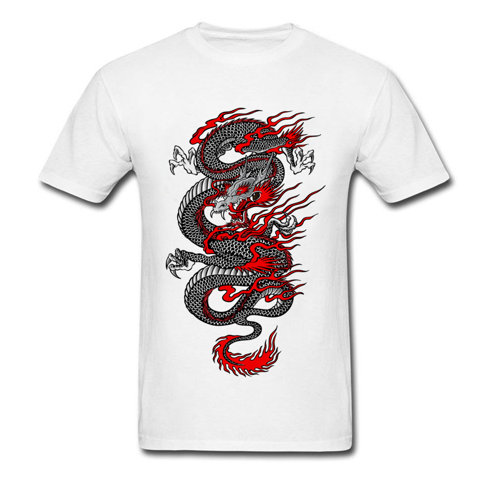 Asian Dragon 100% Cotton Tops T Shirt for Men Printed T-shirts Summer New Coming O-Neck T Shirt Short Sleeve Free Shipping Asian Dragon white