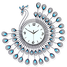 Blue Peacock creative electronic wall clock European fashion watches living room Decorative Quartz Iron +diamond wall clock blue