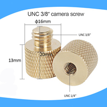 3/8 inch Male to 1/4 inch Female Tripod Thread Reducer Adapter Brass Copper For Camera tripod Diameter of screw 6mm(China)