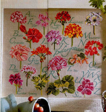 Top Quality Beautiful Counted Cross Stitch Kit Geranium Flower Alphabet Alphabetic List Dictionary Letters Flowers