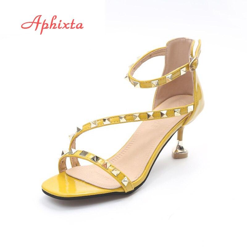 Aphixta Women Sandals Summer High Heels Woman Sandals Ladies Pump Black Yellow Pink Rivet Shoes Strap Thin Heels Sandals Shoes<br>