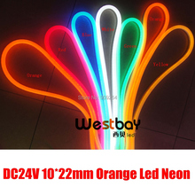 Orange led neon flex strip in DC24V, brand new, wholesale neon price,90leds per meter,mini size,easy installation decorate light(China)