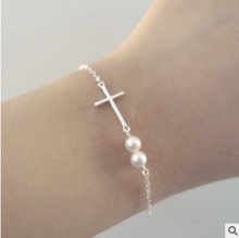 S 15 2017 new fashion simple gold and silver cross imitation pearl bracelet female factory direct girl