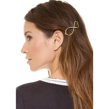 New Top Fashion Women Positive Infinity Gold Barrette Hairpin Hair Clip Headband vicky