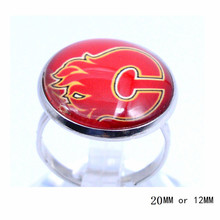 Calgary Flames Ring Ice Hockey Charms NHL Sport Jewlery Round Glass Dome Silver Plated  Ring For Women Girl Adjustable