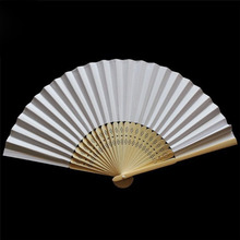 Hot selling 200 pcs/lot White Folding Elegant Paper Hand Fan  white fan paper fan Wedding&Party Favors 21cm 8""