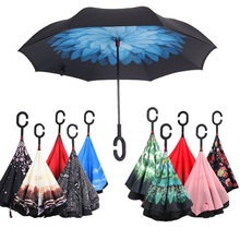 Inside Out Rain Windproof UV Protection Umbrella C-Hook Hands Folding Double Layer Inverted Chuva Umbrella Self Stand