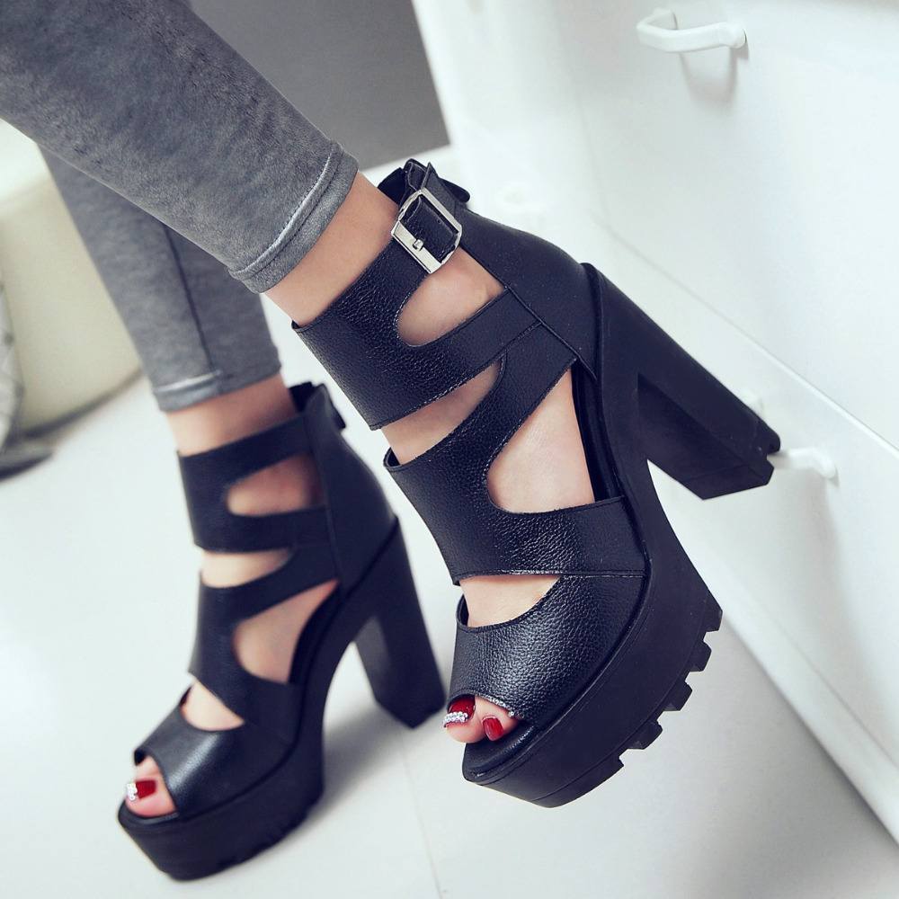 Womens Elegant Ankle Strap Open Toe Shoes Thick High Heeled Sandals Platform Sexy Womens Party Shoes<br><br>Aliexpress
