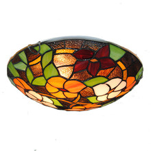 2/3 Lights Modern Retro Tiffany Flowers Pattern Flush Mount Light Stained Glass Restaurant Aisle Ceiling Lighting Fixtures CL291(China)