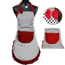 New Cute Bib Apron Dress Vintage Kitchen Women Bowknot with Pocket Gift(China)