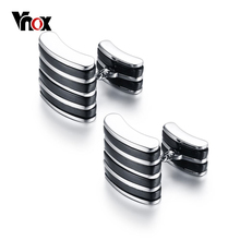 VNOX Black Stripe Link Chain Cuff Links for Men High Polished Stainless Steel Gold-color Men's Cufflinks(China)