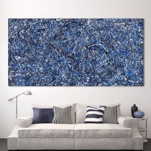 HDARTISAN Modern Oil Painting Jackson Pollock Abstract Canvas Art Blue Background Wall Pictures For Living Room Home Decor