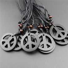Hot Handmade Imitation Yak Bone Carving 4 color Peace Symbol Pendant Necklace Men Wooden Beads Charm Choker Amulet Gift