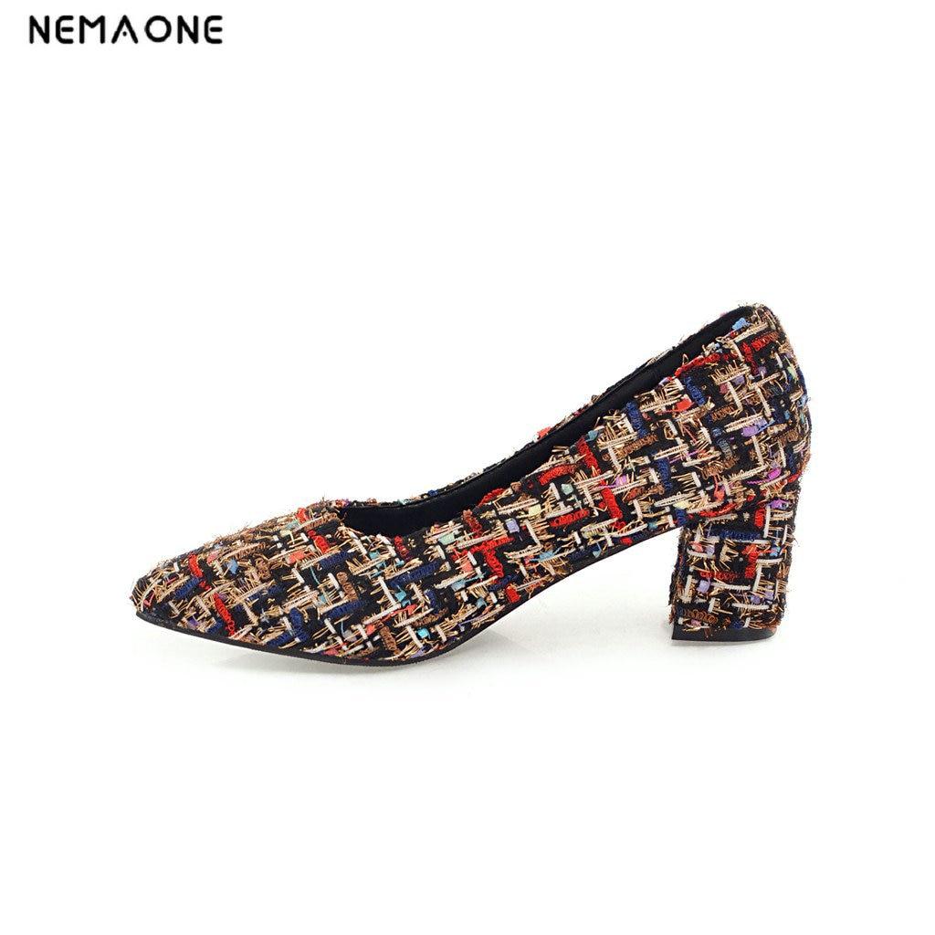 NEMAONE High Heels Women Pumps round Toe Slip On Shallow Footwear 2018 Brand Spring Fashion Ladies Sweet Shoes<br>