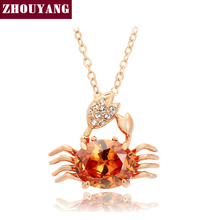 Top Quality ZYN061 Lovely Golden Crab Rose Gold Color Pendant Necklace Jewelry Austrian Crystal Wholesale(China)