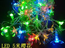 Free shipping LED Christmas lights cherry blossom 220V RGB/White 5M 50balls New Year/Wedding/birthday party lighting Decoration