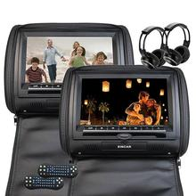 Black two Car headrest CD DVD player pillow HD Digital Screen Monitor FM Transmitter 32Bits Games Disc Mp3 Include IR Headphones(China)