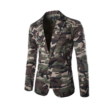 2015 New Arrival Casual Slim Fit Special Men's Military Style Camouflage Blazer Jacket Suits High Quality Fashion 2 Colors
