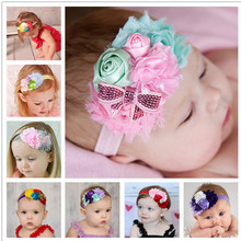 8Clrs children Infant Baby toddler girls lace multi color rose & fringed flower Headband Headwear HairBand Accessories w022 6cm(China)