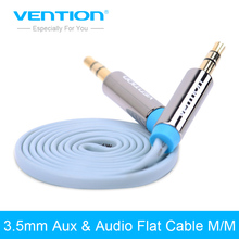 Vention 3.5mm Aux Cable male to male Flat Aux Cable 1m/1.5m/2m/3m Stereo Audio Cable for Car /PC/iPod/cellphone