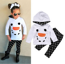 2017 1-7Y cute Autumn cartoon Boutique Snowman Girls Kids Toddler Hoodie Tops Skiny Pants Outfits Set Clothes olaf (China)