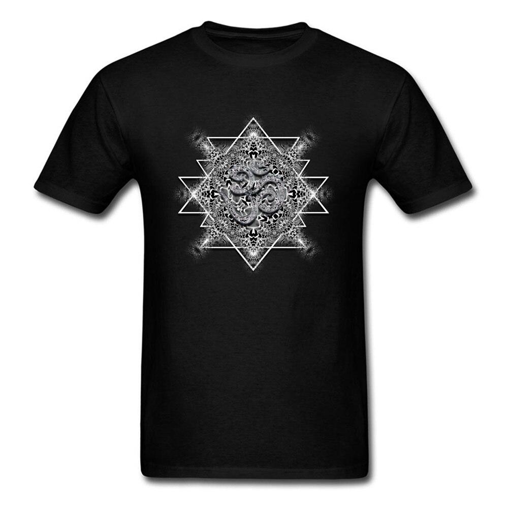 T Shirt Clothing Shirt OM Tribal Geometry VALENTINE DAY Short Sleeve 100% Cotton Round Neck Men T Shirts Printed On Retro OM Tribal Geometry black