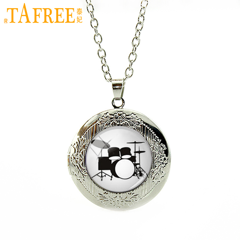 TAFREE Charming locket necklace Drum DJ Turner DJ Mixer Musician Drum Set Silver Musician Gifts Birthday Gift for Father T595(China (Mainland))