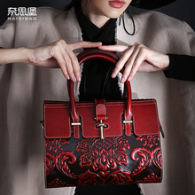 High-quality Genuine Leather Vintage women handbag Chinese style name brand fashion pattern Shoulder Messenger Bag Free Shipping