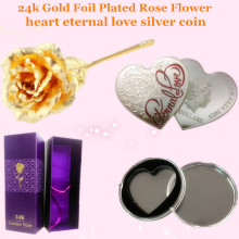 24k Gold Foil Plated Rose Gold Rose + heart eternal love silver coin metal Wedding Decoration Flower Valentine's Day Gift +box