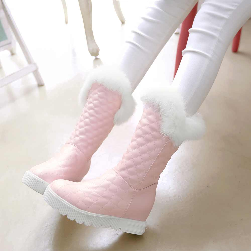 size 34-43 winter women boots round toe platform lady ankle boots rabbit fur winter keep warm Height increasing snow boots<br>