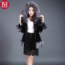 Brand lady Real Natural Mink Fur Coat  With Fox Fur Collar 100% Real Genuine Mink Fur Jacket 2017 Women Mink Fur Outerwear Coats