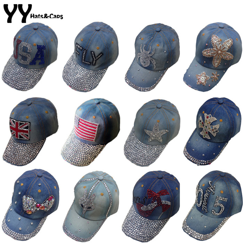Fashion Cotton Jean Caps Women Rhinestone Baseball Cap JEAN Summer Hat Jean Snapback Caps Denim Berets Caps Wholesale!YY0500<br><br>Aliexpress