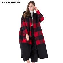 52550ca4d 2019 nueva chaqueta de Cachemira hecha a mano de doble cara de alta gama  para mujer negro rojo Plaid cuello en V chaqueta de lan.