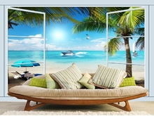 Free Shipping 3D Palm Beach mural bedroom restaurant hotel KTV TV sofa bar cafe background False window wallpaper mural